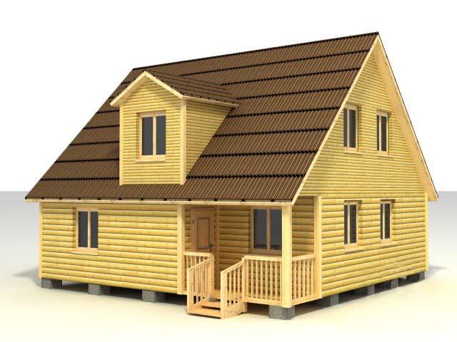 Дом 8х8 с кукушкой по проекту №44